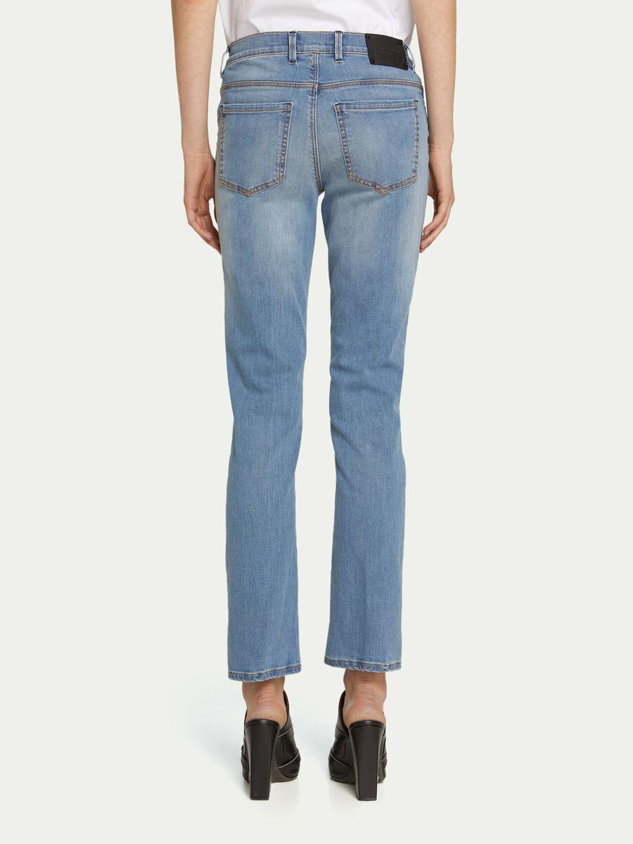 Jeans regular fit in denim chiaro con patch