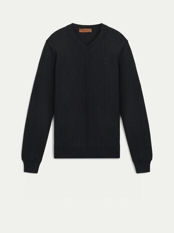 Wool blend V neck pullover