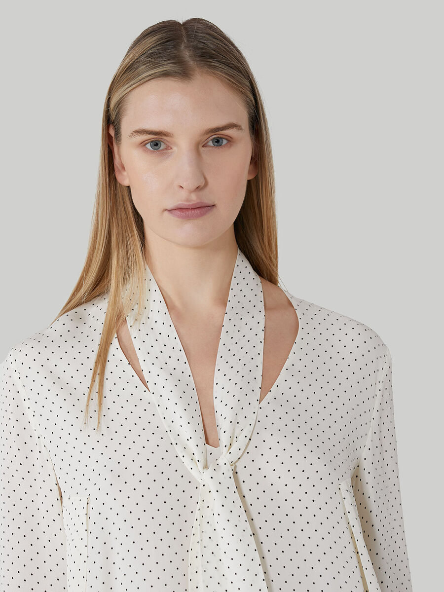 Polka-dot viscose blouse with pussy-bow neck
