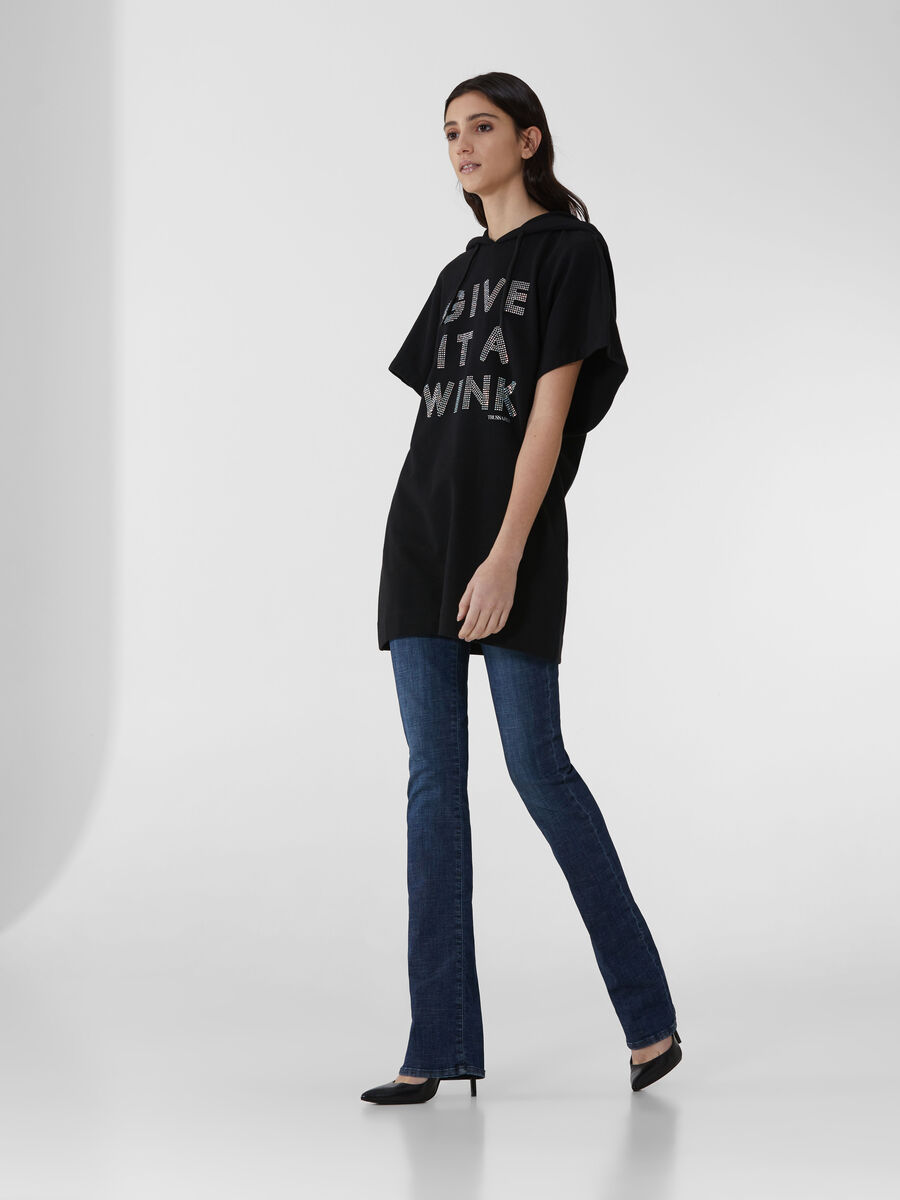 Cotton fleece dress with lettering