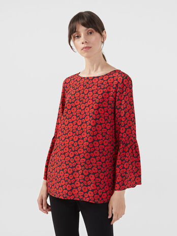 Blusa in viscosa crepe con stampa all over