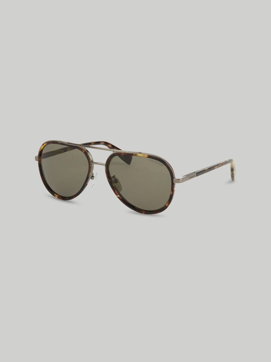 Piloten Sonnenbrille aus Metall und Acetat