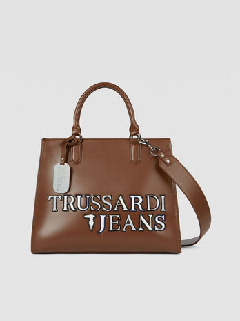 Large T-Tote tote bag in faux leather with logo