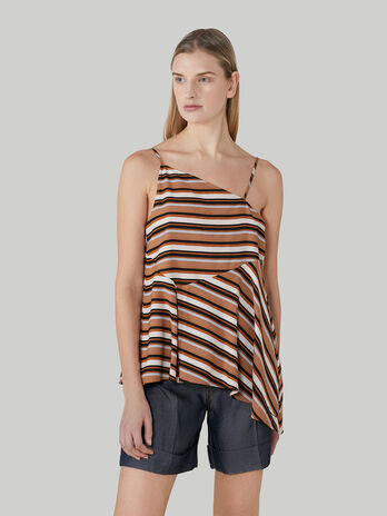 Sleeveless striped twill top