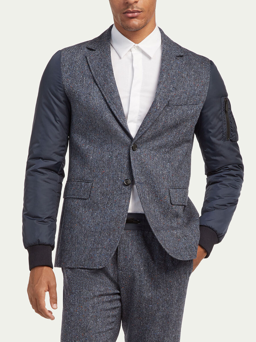 Wool tweed blazer with padded sleeves