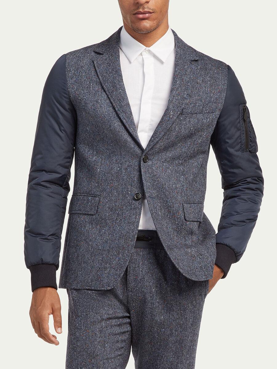 Blazer en tweed de laine a manches rembourrees