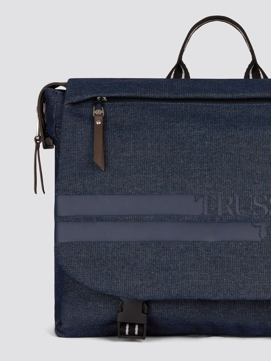 Denim and faux leather Turati work bag