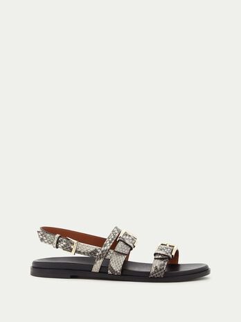 Leather sandals in python print