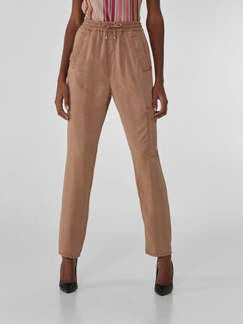 Pantaloni cargo jogging in tencel