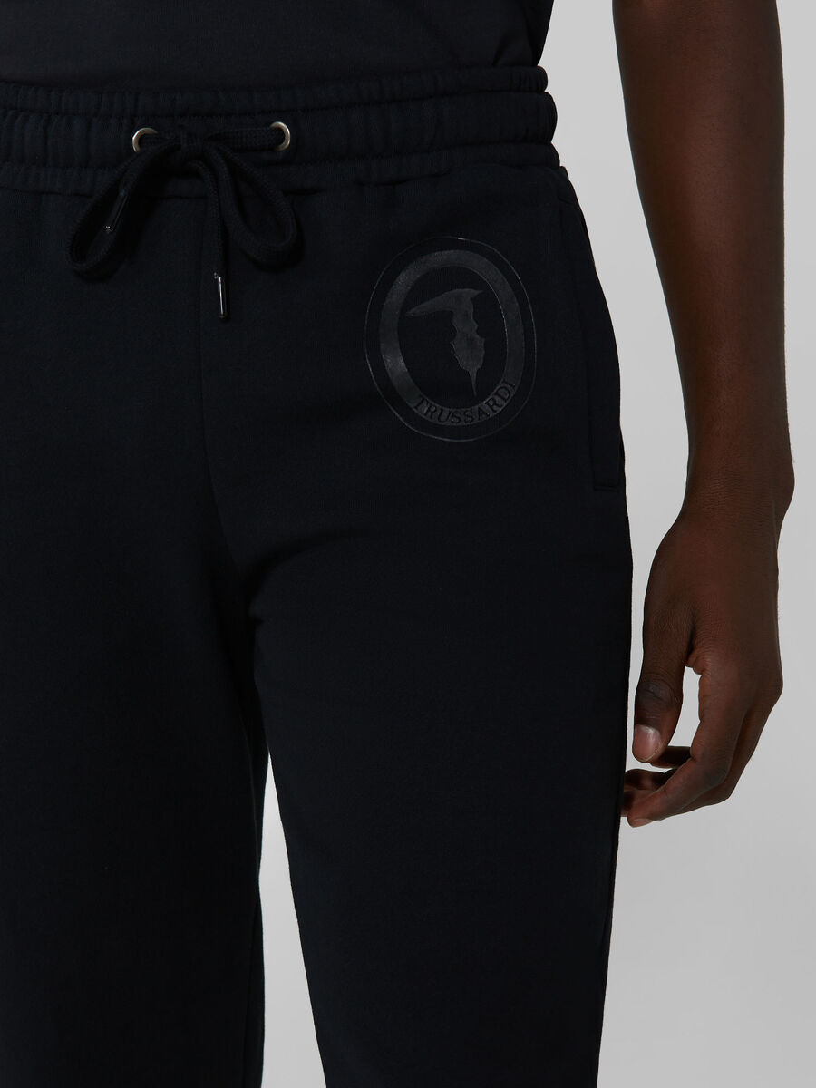 Regular fit cotton jogging bottoms with logo