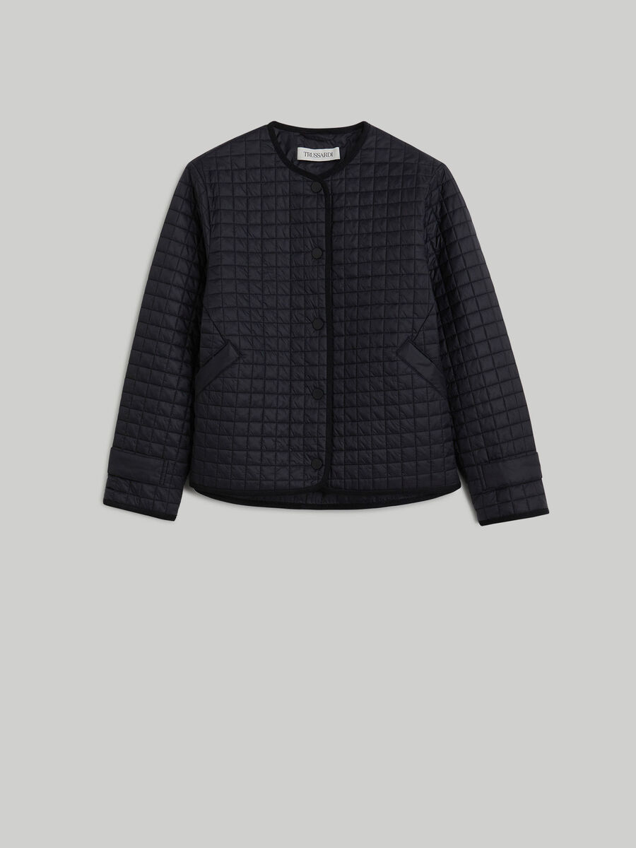 Matte-effect quilted nylon jacket