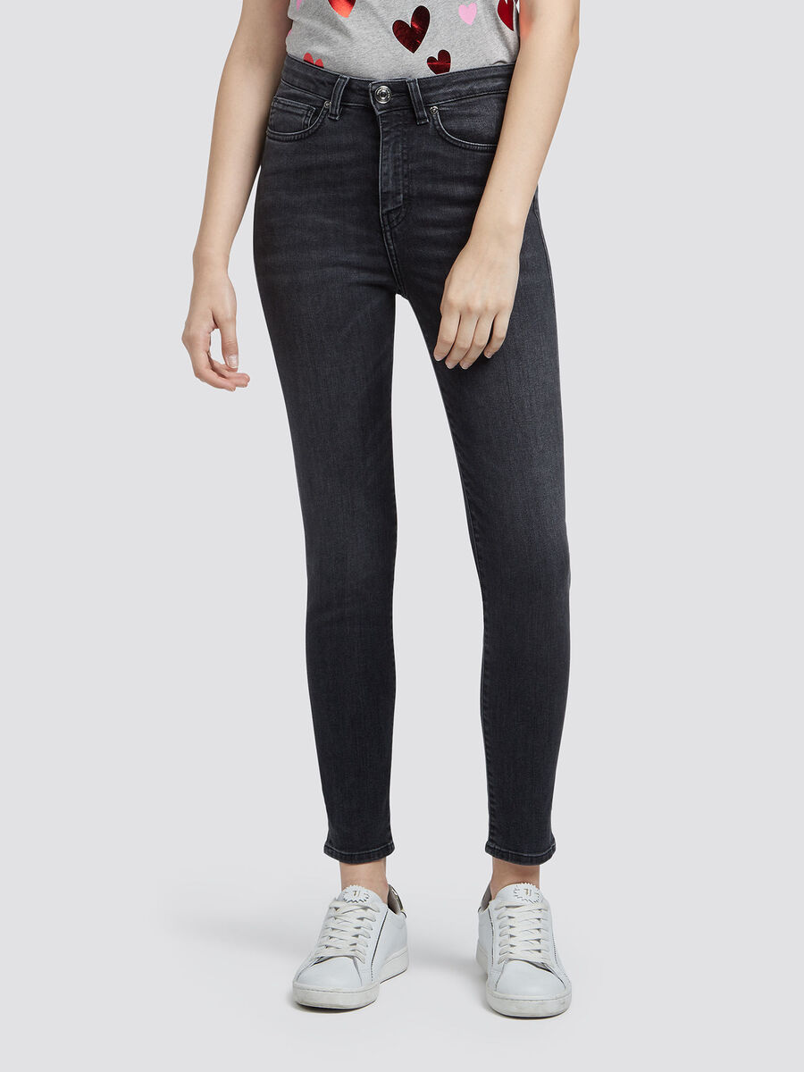 High waisted jeans with whiskering