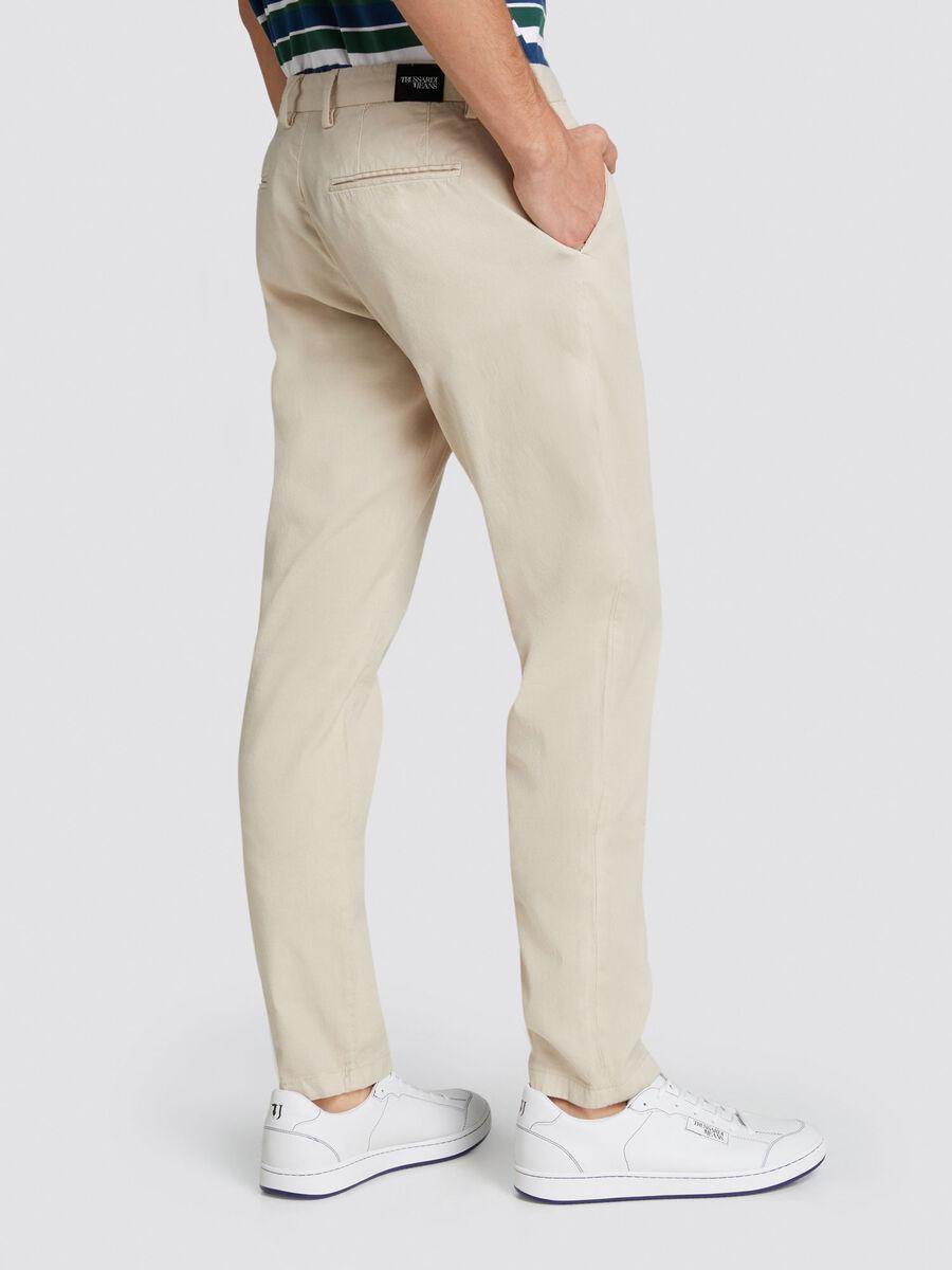 Pantaloni Aviator fit yarn dyed tinta unita
