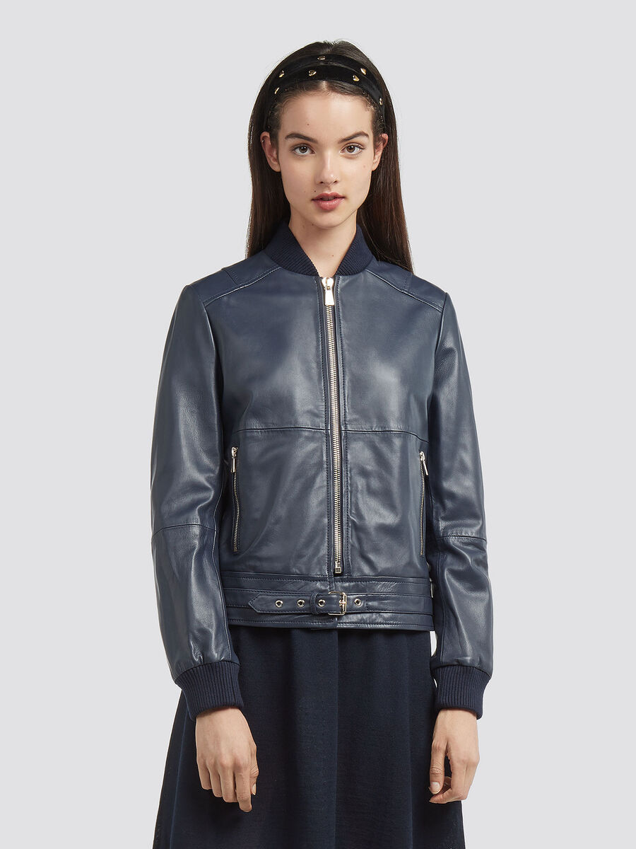 Regular fit leather bomber jacket