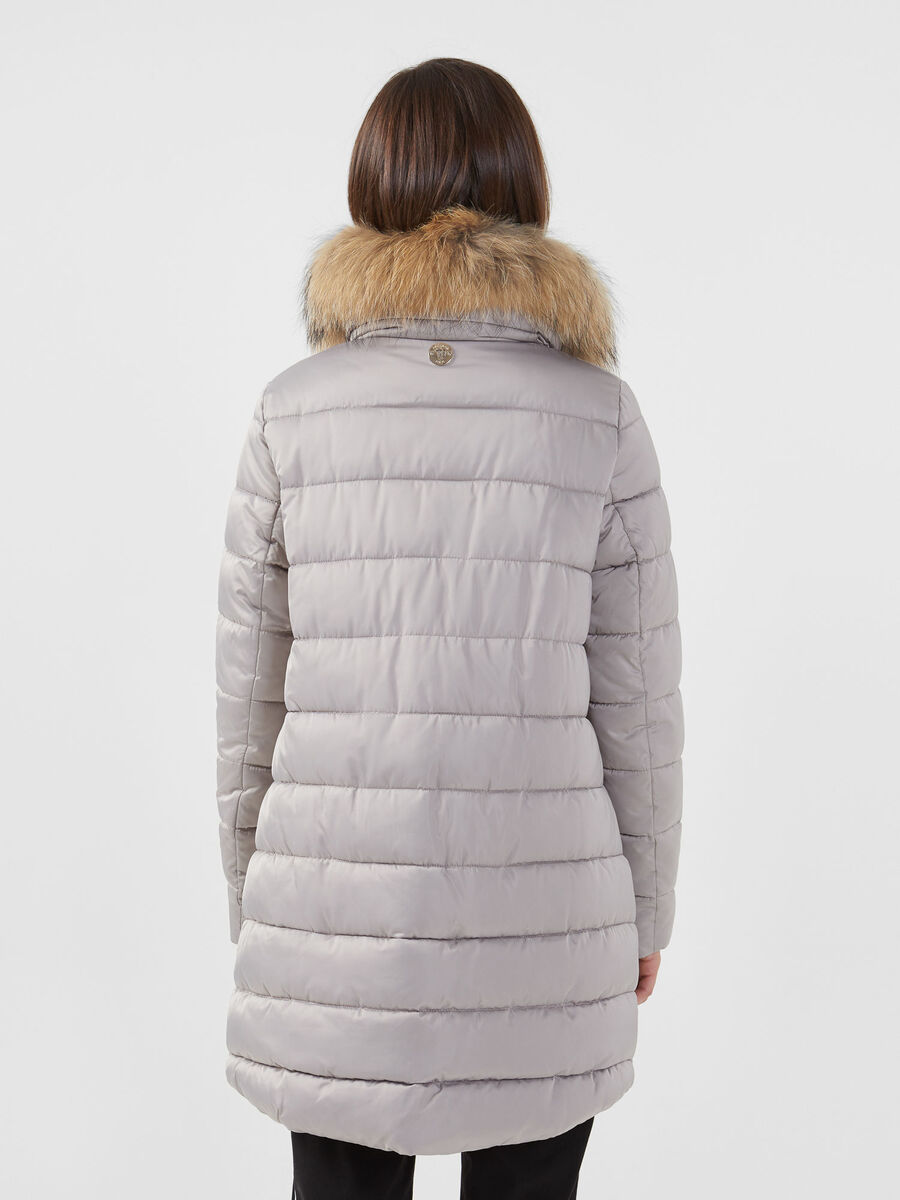 Nylon satin down jacket with hood and fur