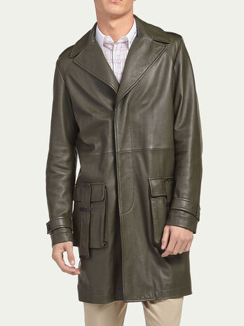 Lambskin coat with lapels