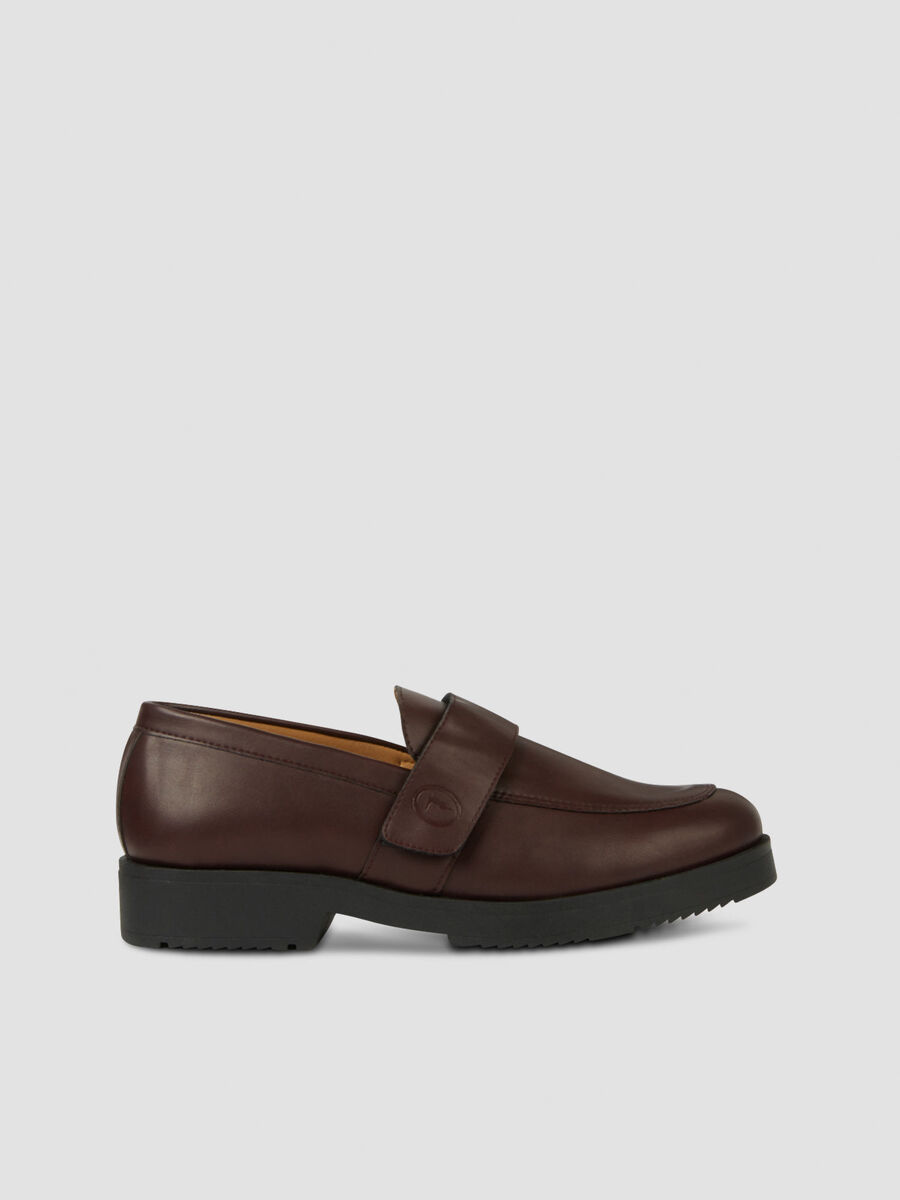 Smooth faux leather loafers with strap