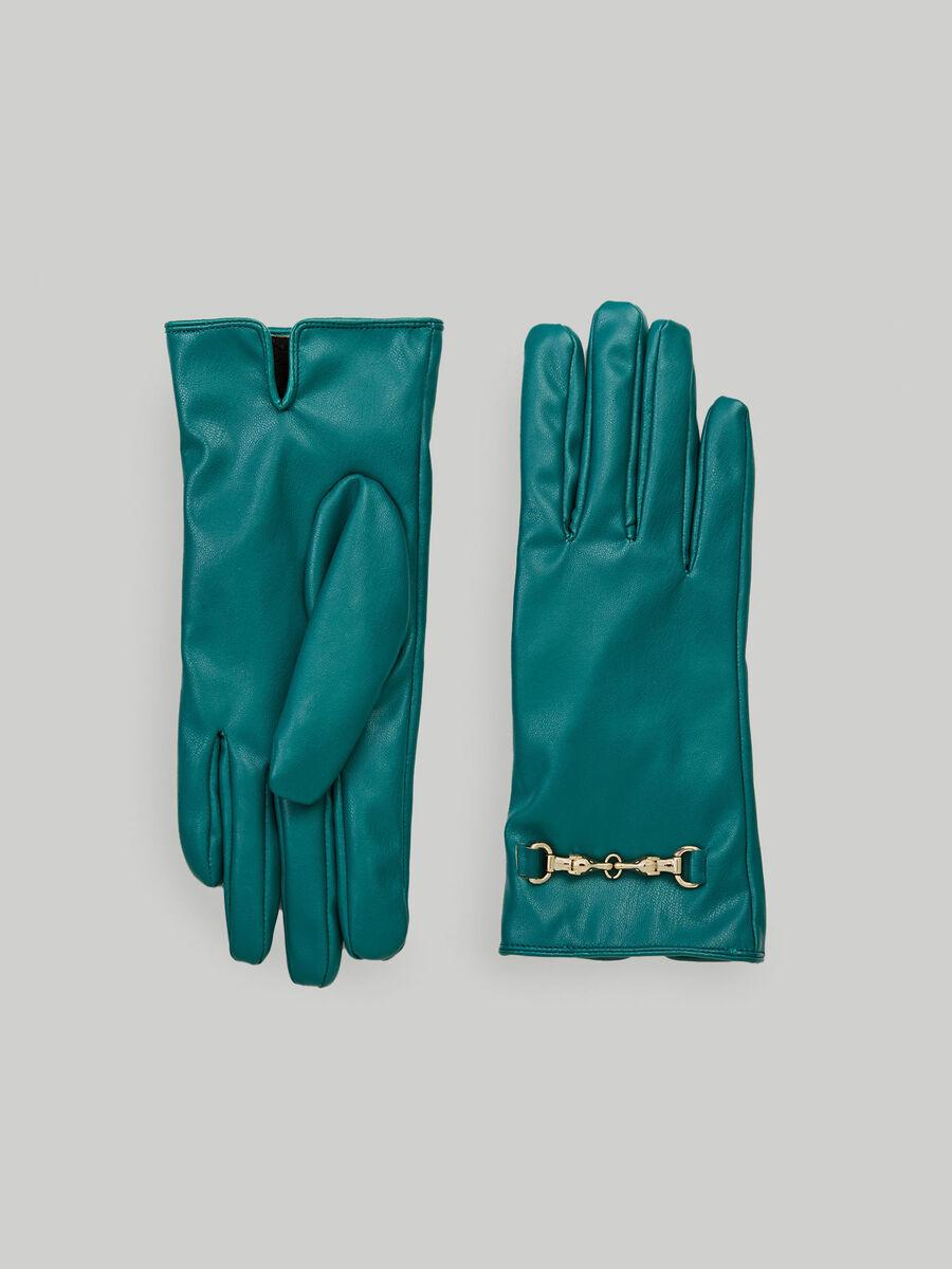 Handschuhe aus Kunstleder mit Levriero-Trensendetail