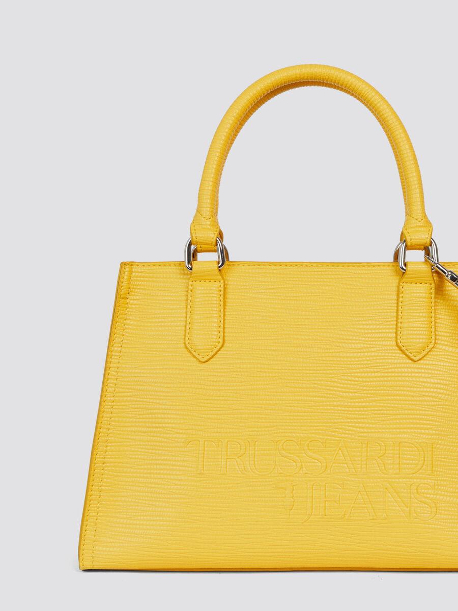 Handtasche T-Tote midi Saffiano mit Schriftzug