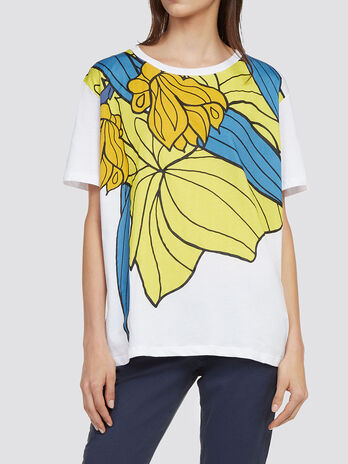 Jersey T shirt with floral print