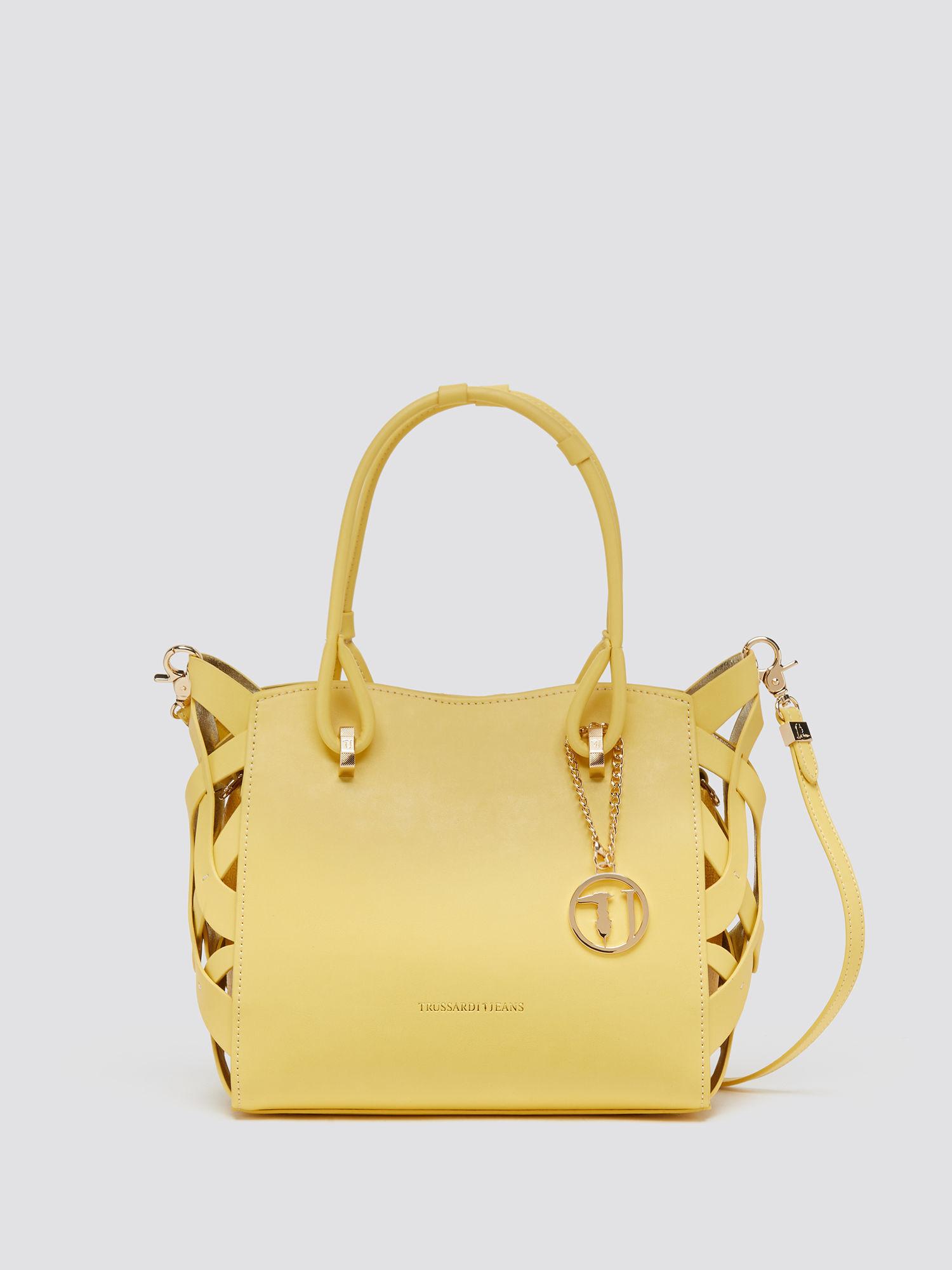 Dahlia shopping bag with basket weave detailing
