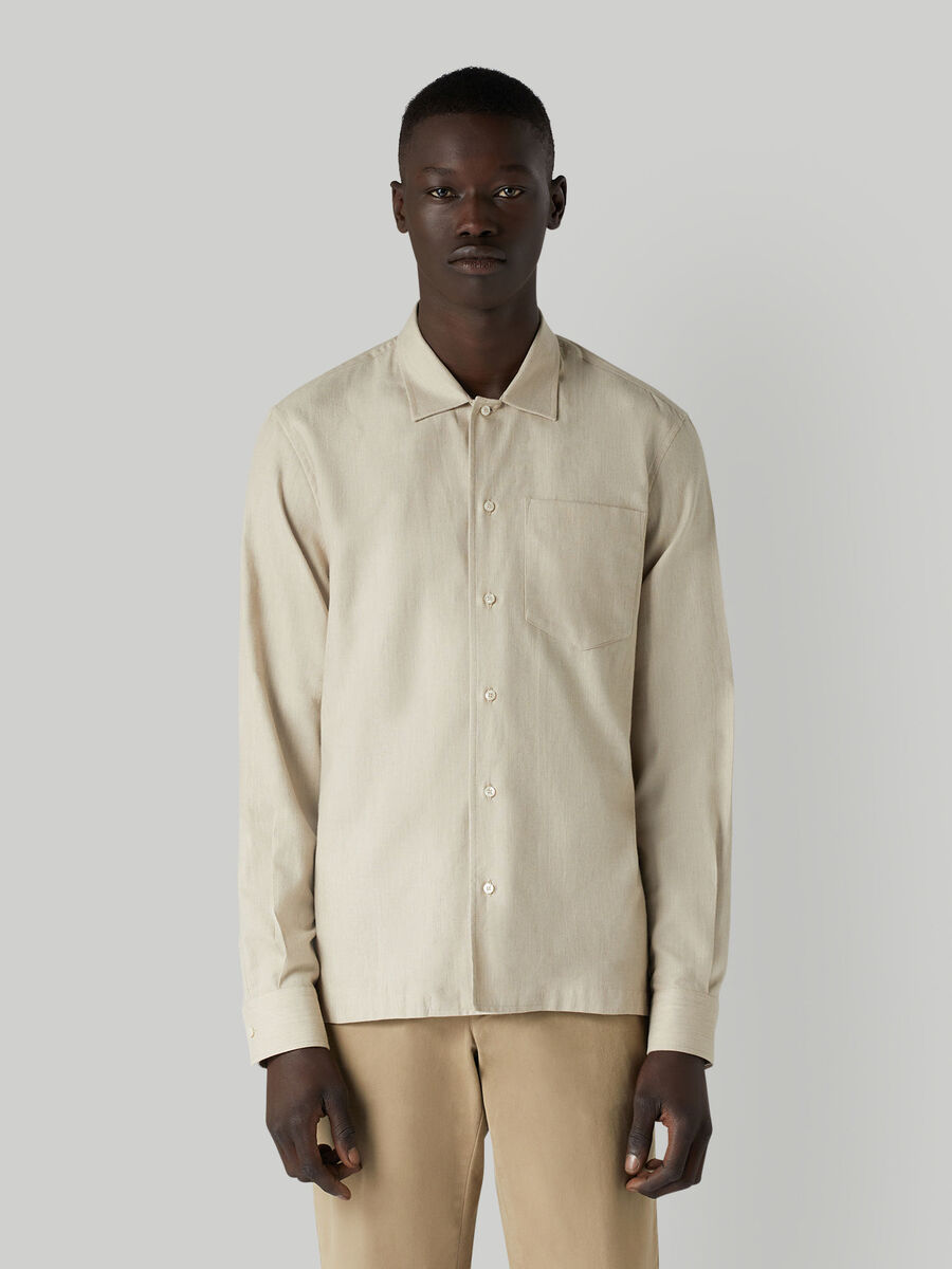 Boxy cotton shirt with breast pocket