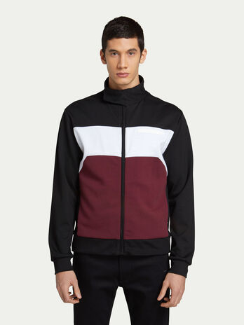 6c424ab81c72d9 Felpa byker fit in jersey bicolor con zip