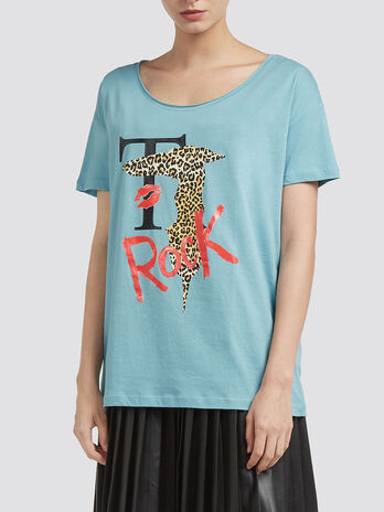 Pure cotton T shirt with leopard lettering print