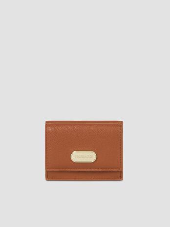 Small faux leather Boston trifold purse