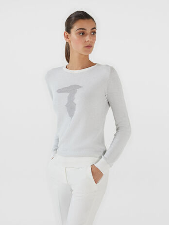 Stretch lurex viscose pullover with logo