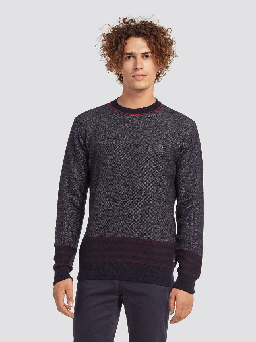Regular fit plaited wool blend pullover