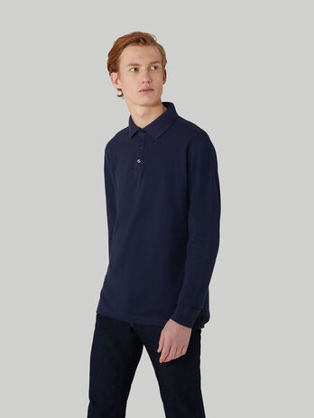 Regular-fit pique polo-shirt with long sleeves