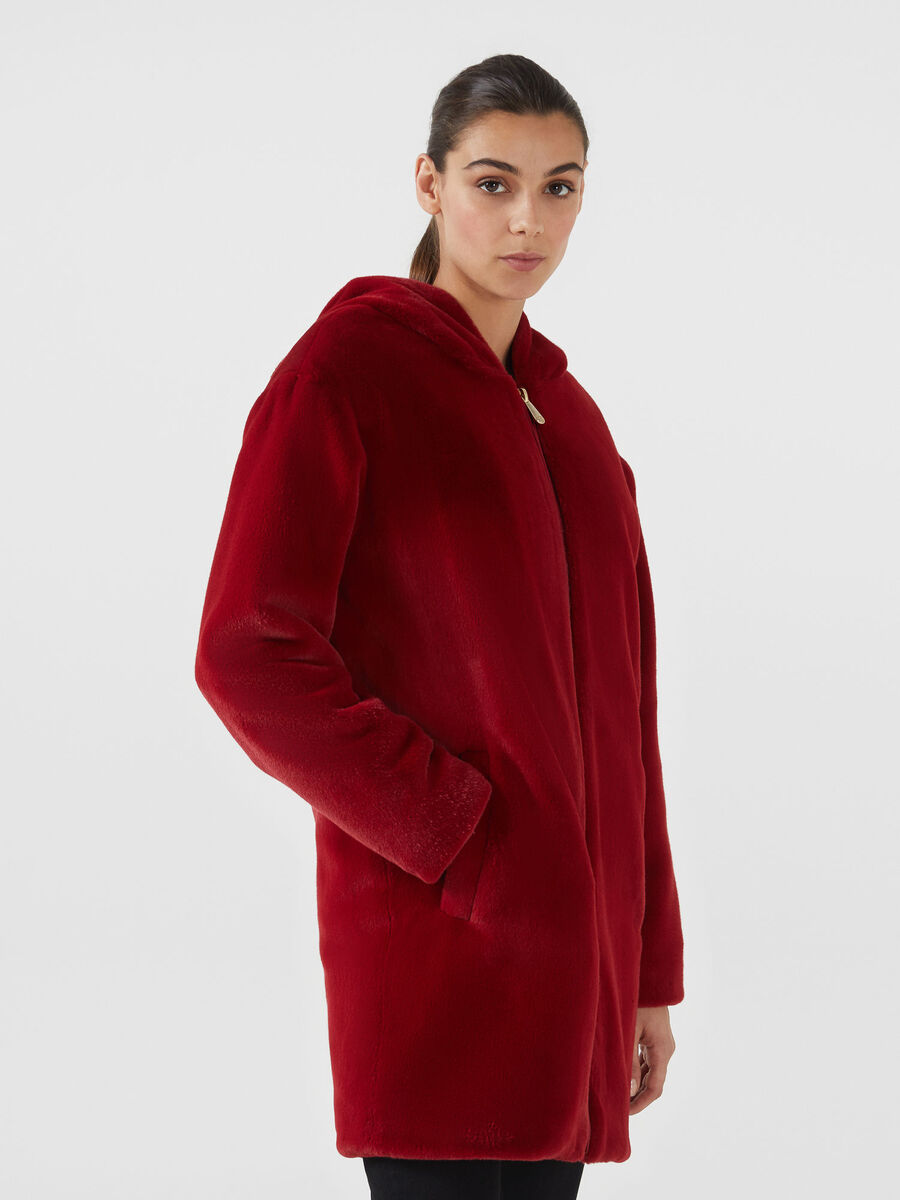 Long oversized faux fur bomber jacket