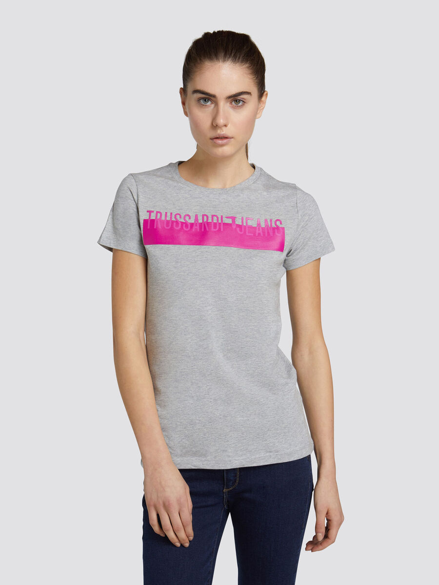 Regular fit cotton jersey T shirt with branded band