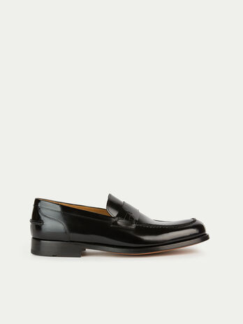 Solid colour matte leather loafers
