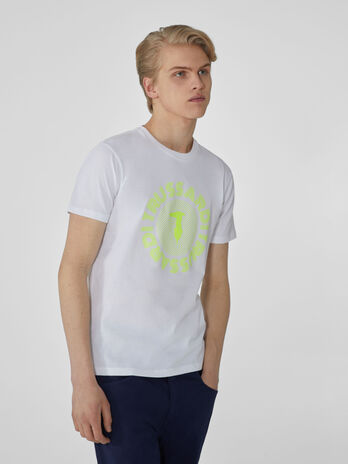 T-shirt regular fit in jersey con stampa fluo