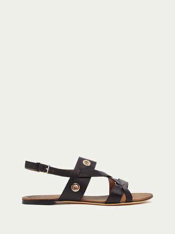 Strappy sandals with eyelets