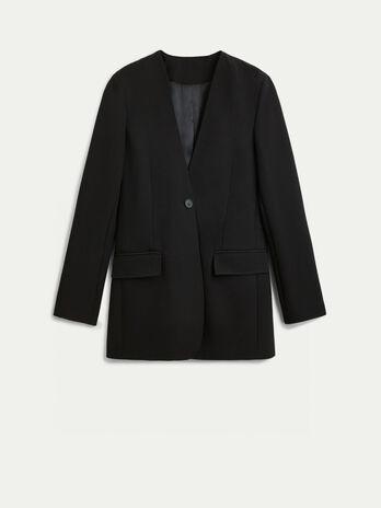 V neck crepe blazer