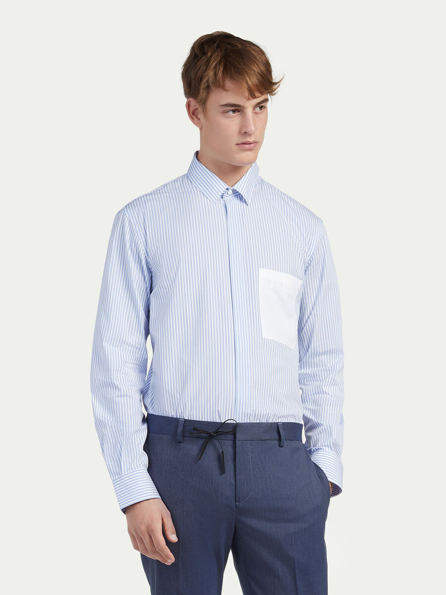 Oversized shirt in striped poplin