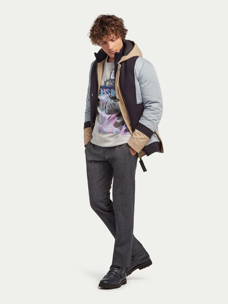 Regular Fit Melange Sweatshirt mit Print