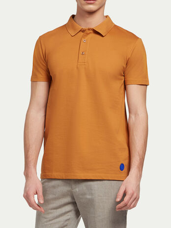 Solid colour pure cotton polo shirt
