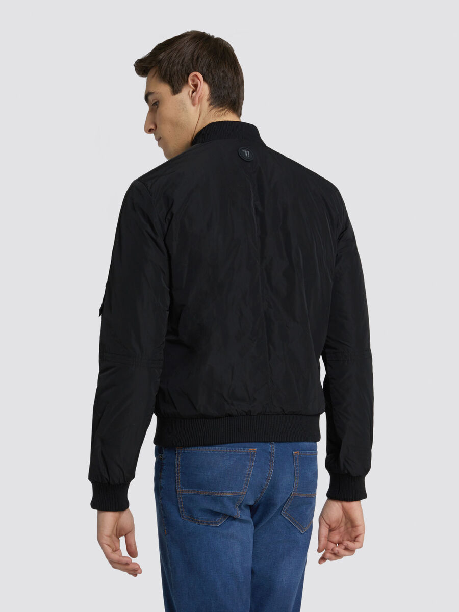 Bomber regular fit in nylon opaco e mini logo laterale