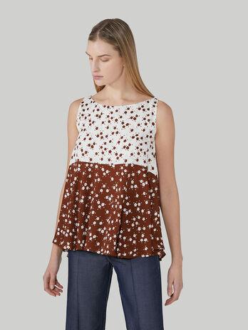 Aermellose Bluse aus bedrucktem Viskosekrepp