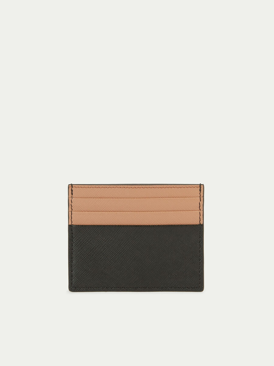 Leather card case with two tone print