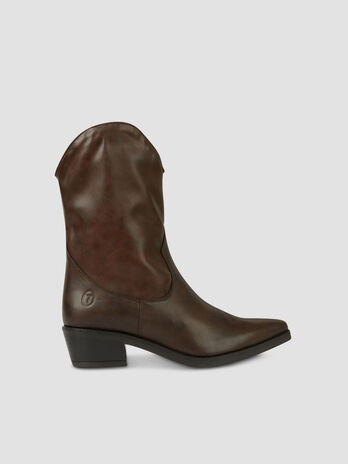 Faux leather cowboy boots