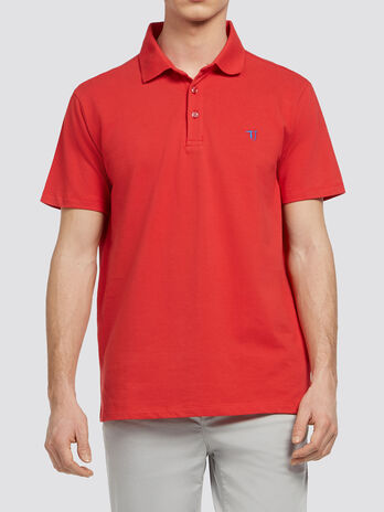 Pure cotton pique polo shirt with embroidery