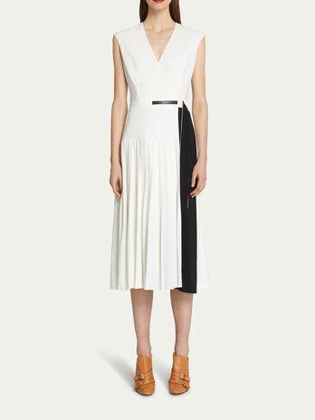 Vestido largo de crepe de viscosa bicolor escote en V