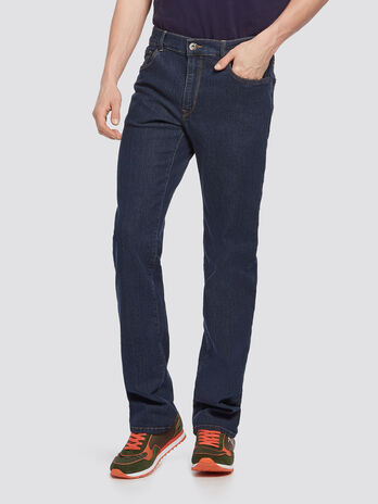 Jeans stretch stonewashed con cuciture