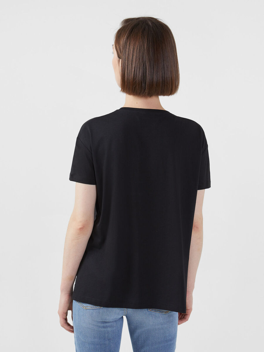 Cropped jersey T-shirt
