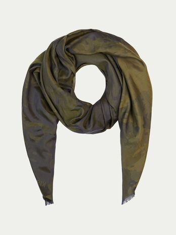 Cotton and silk camouflage pashmina